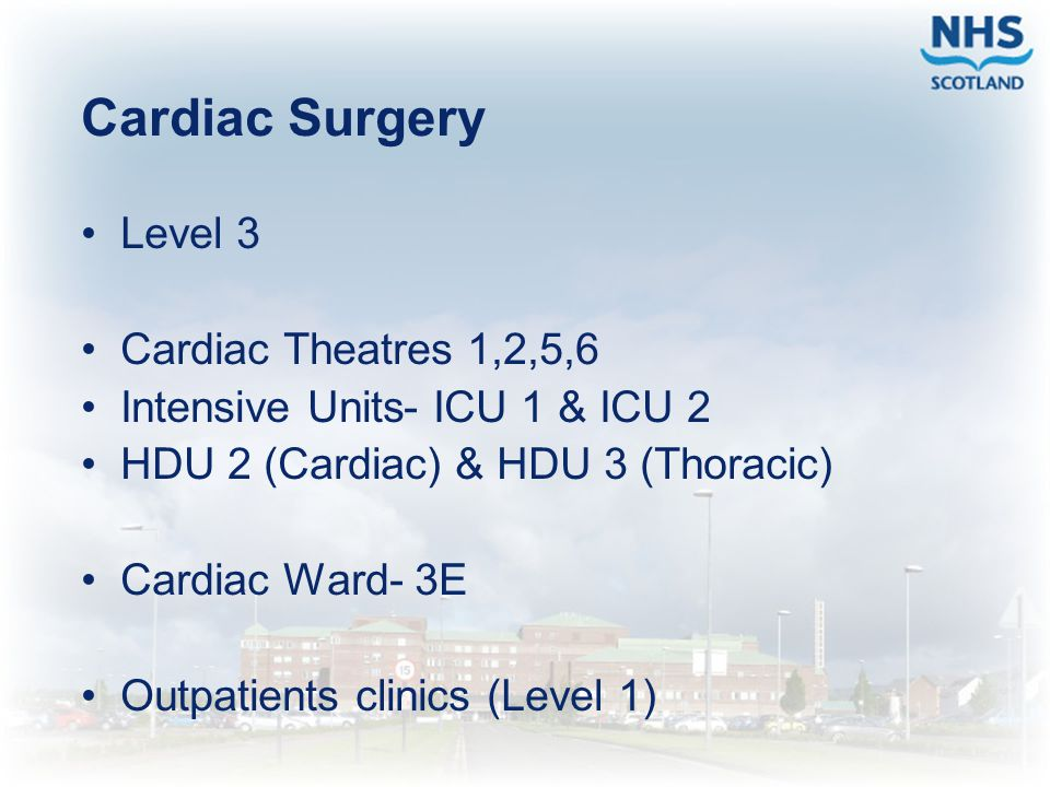 Cardiac Surgery Level 3 Cardiac Theatres 1,2,5,6