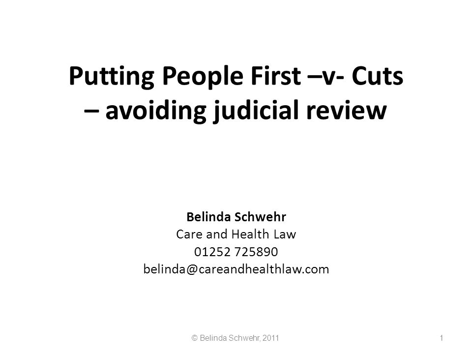 Putting People First –v- Cuts – avoiding judicial review