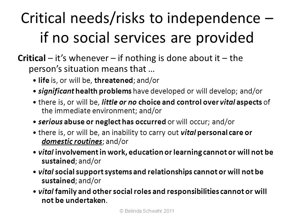Critical needs/risks to independence – if no social services are provided