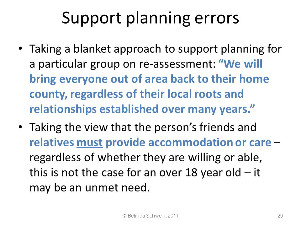 Support planning errors