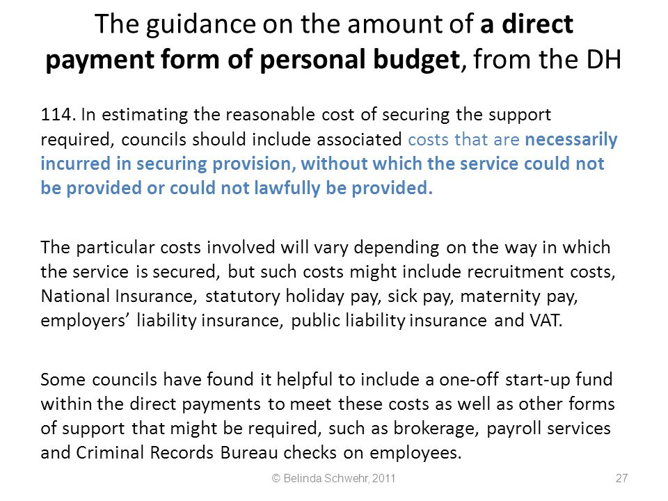 The guidance on the amount of a direct payment form of personal budget, from the DH