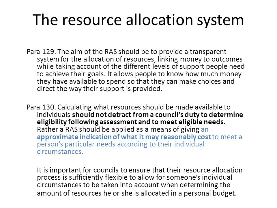 The resource allocation system