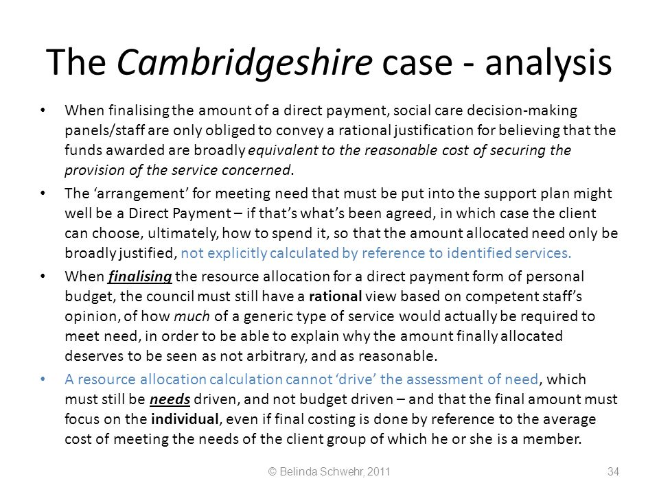 The Cambridgeshire case - analysis