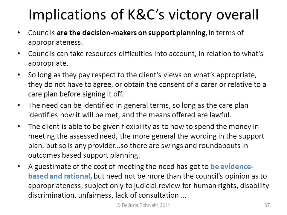 Implications of K&C's victory overall