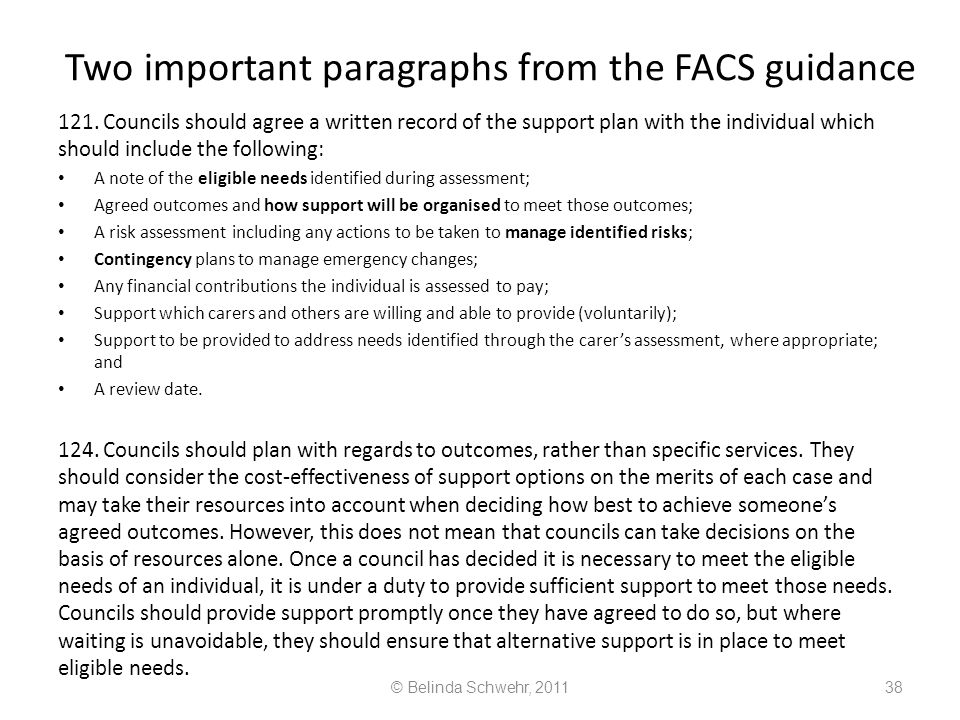 Two important paragraphs from the FACS guidance