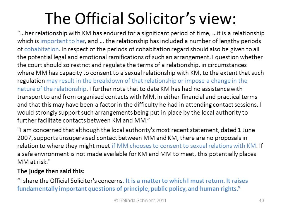 The Official Solicitor's view: