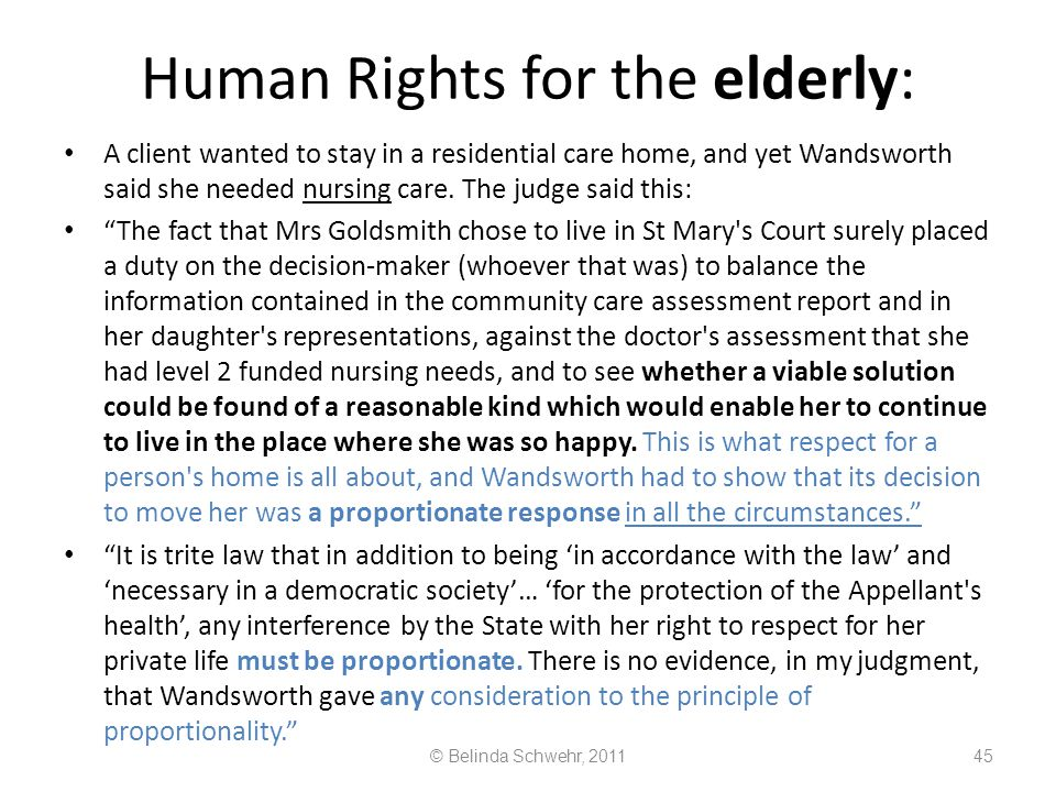 Human Rights for the elderly: