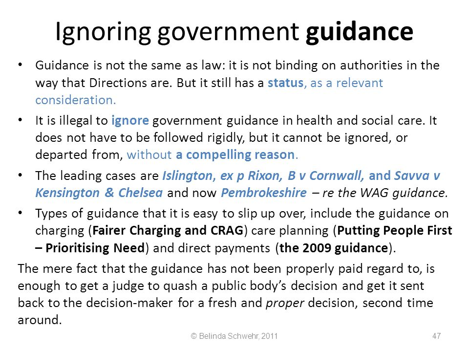 Ignoring government guidance