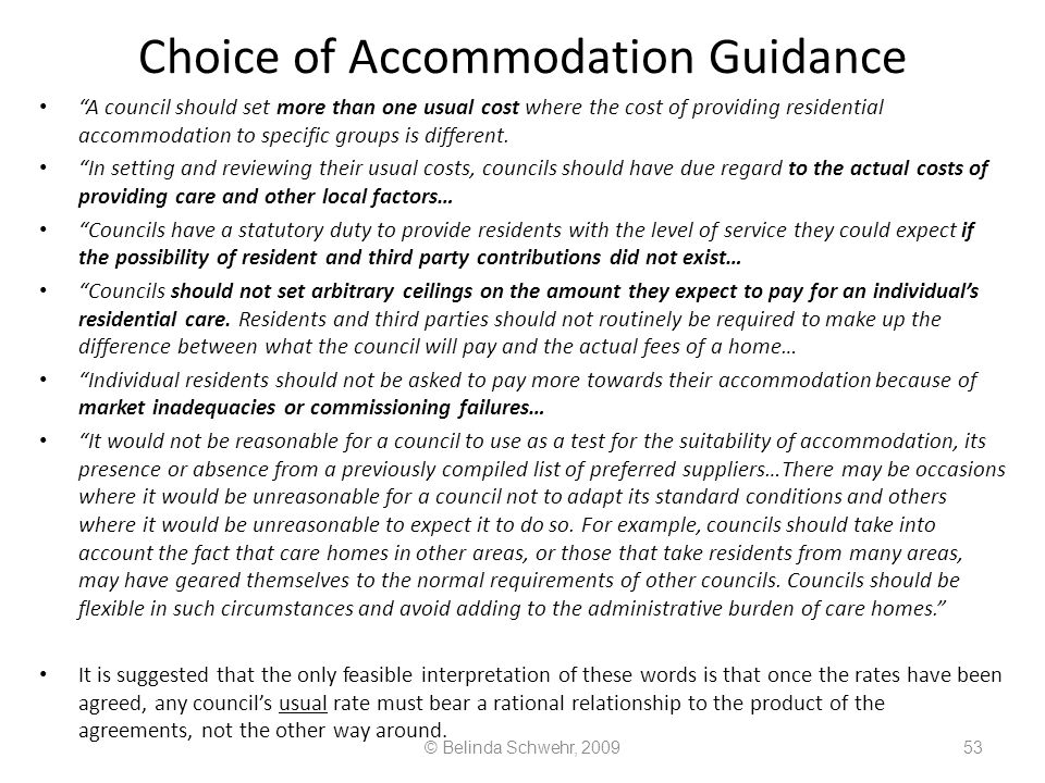 Choice of Accommodation Guidance
