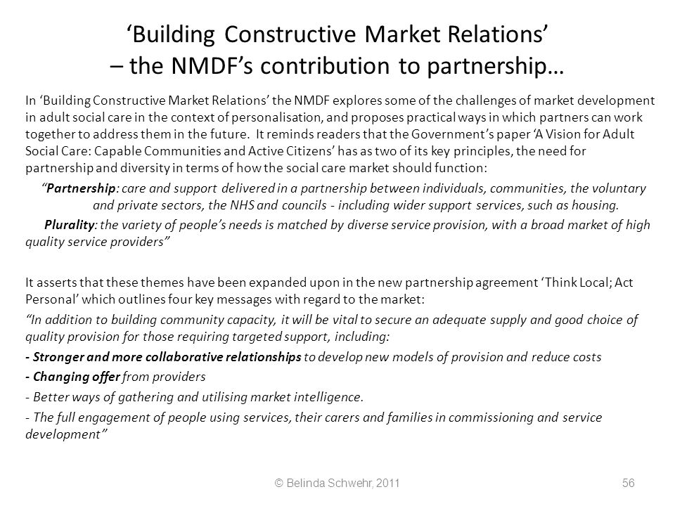 'Building Constructive Market Relations' – the NMDF's contribution to partnership…