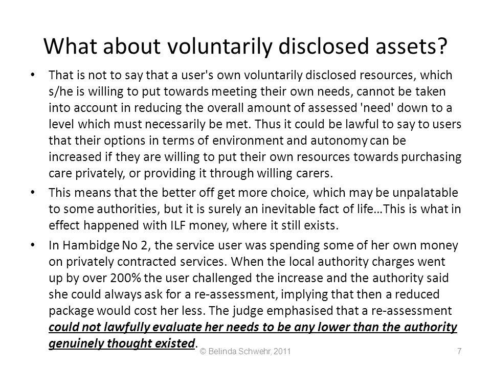 What about voluntarily disclosed assets