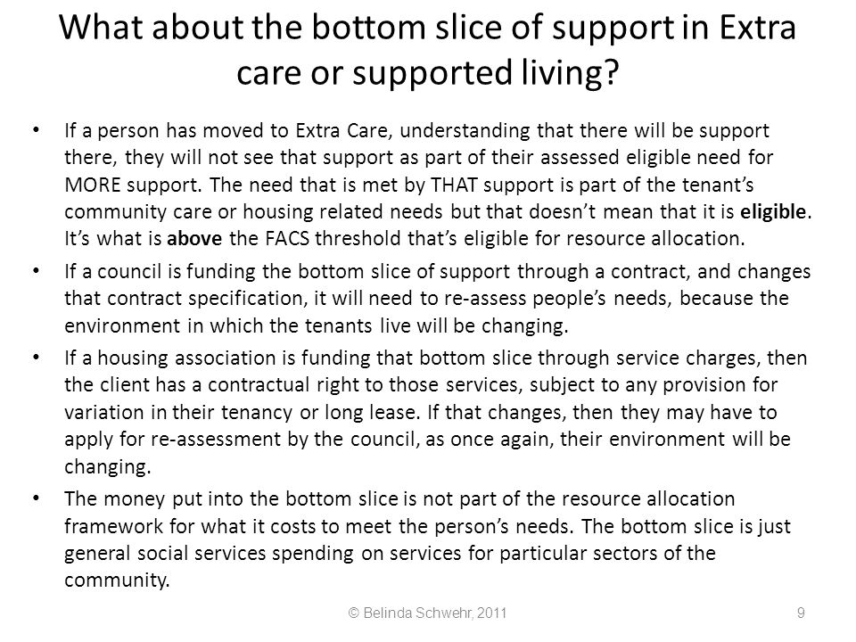 What about the bottom slice of support in Extra care or supported living
