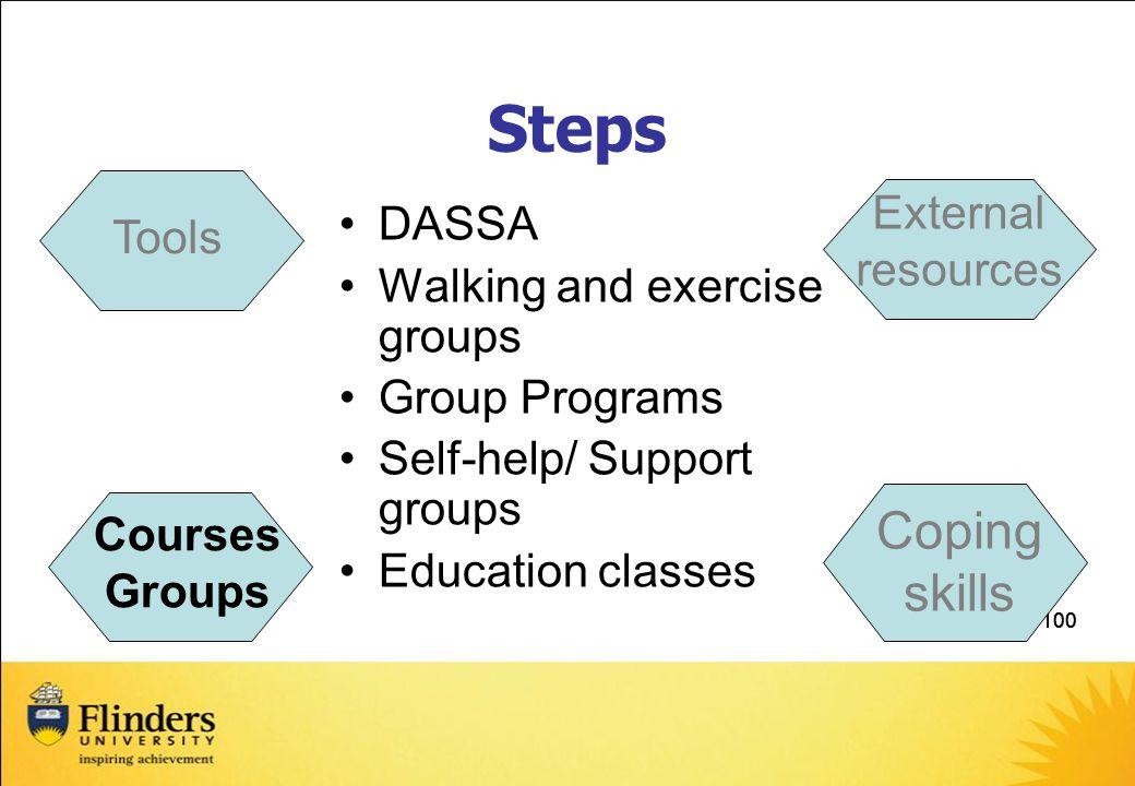 Steps Coping skills External resources DASSA Tools