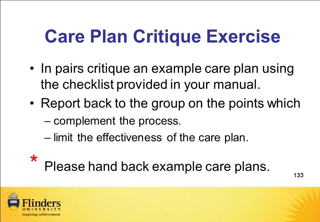 Care Plan Critique Exercise