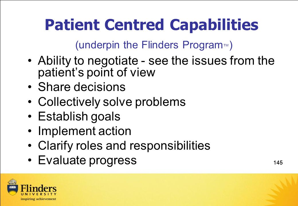 Patient Centred Capabilities (underpin the Flinders Program™)