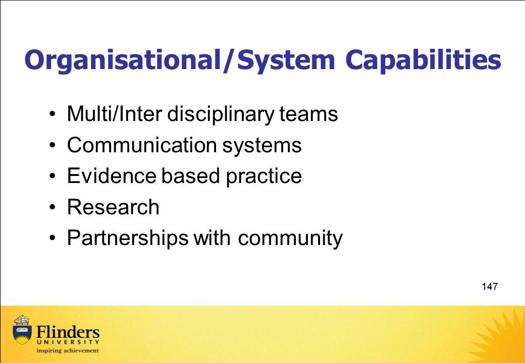 Organisational/System Capabilities