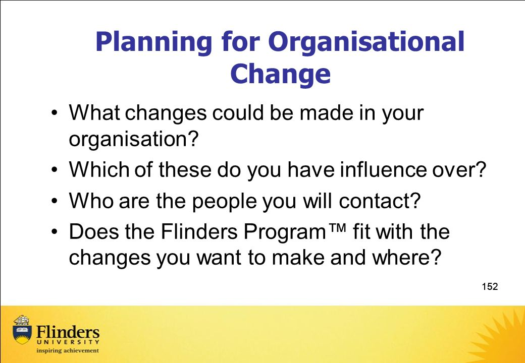 Planning for Organisational Change