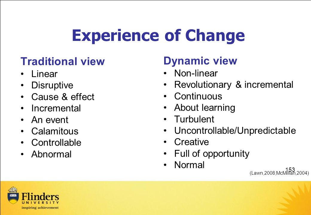 Experience of Change Traditional view Dynamic view Linear Non-linear