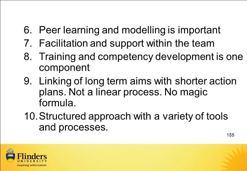 Peer learning and modelling is important