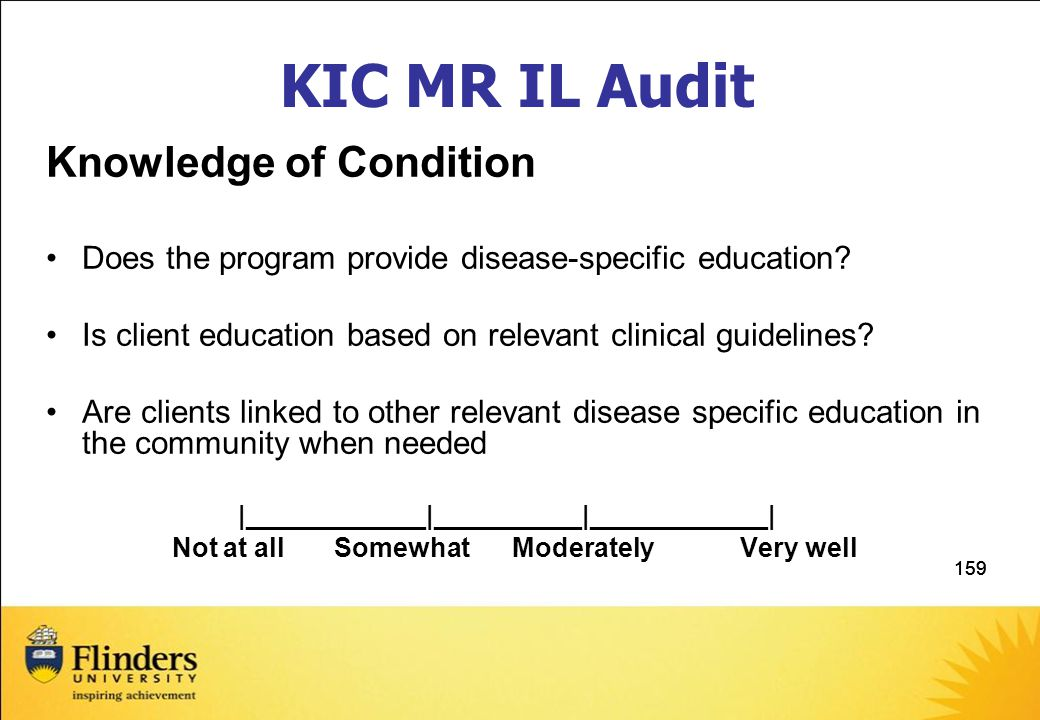 KIC MR IL Audit Knowledge of Condition
