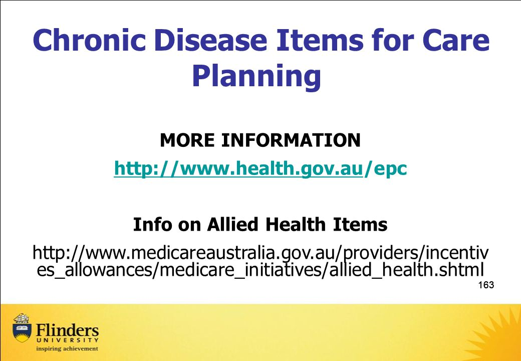 Chronic Disease Items for Care Planning Info on Allied Health Items
