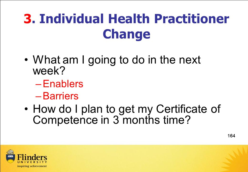 3. Individual Health Practitioner Change