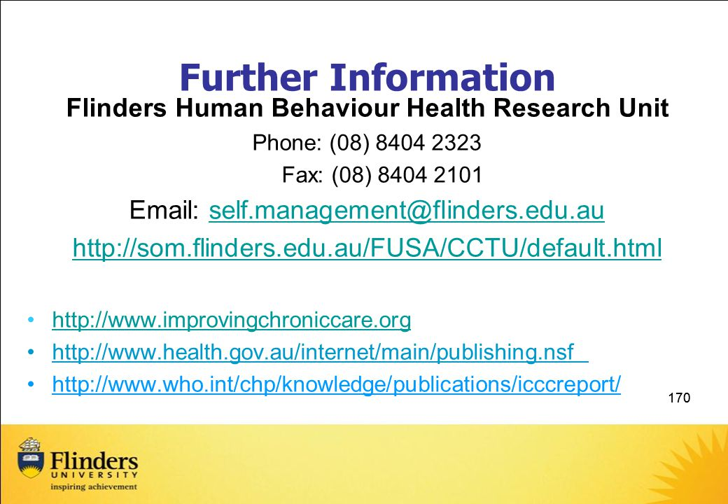 Further Information Flinders Human Behaviour Health Research Unit