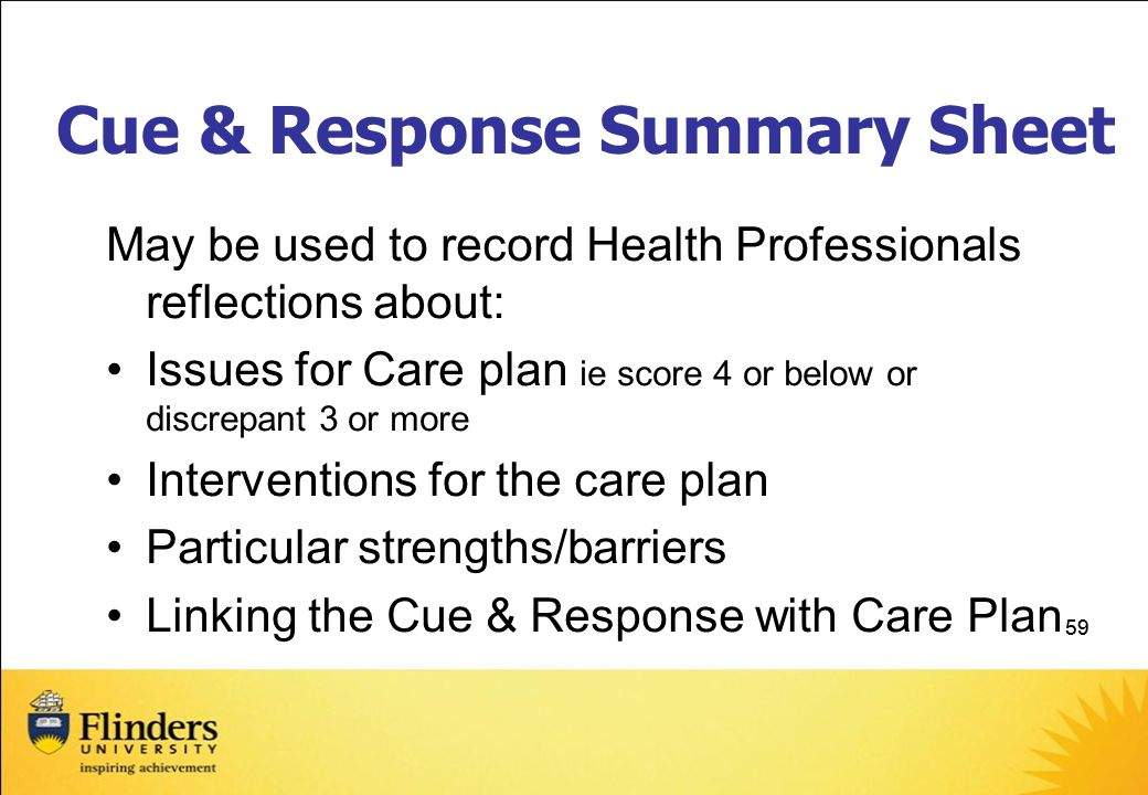 Cue & Response Summary Sheet