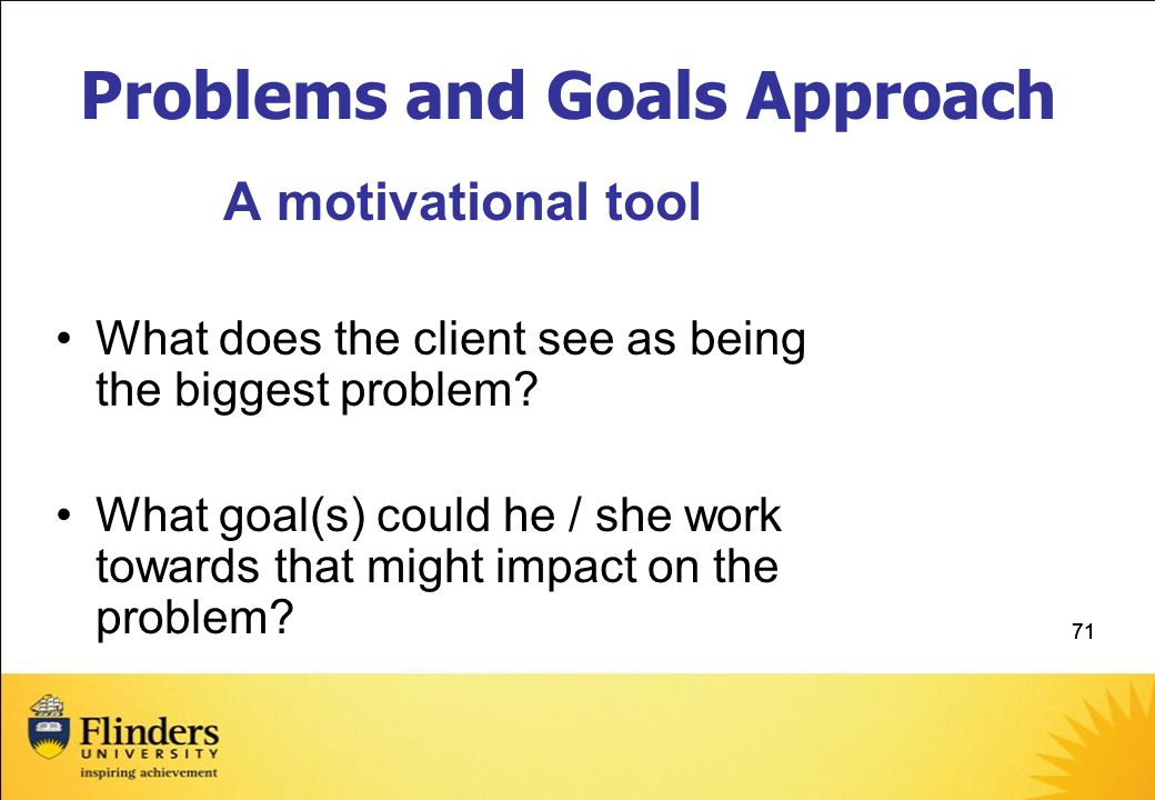 Problems and Goals Approach