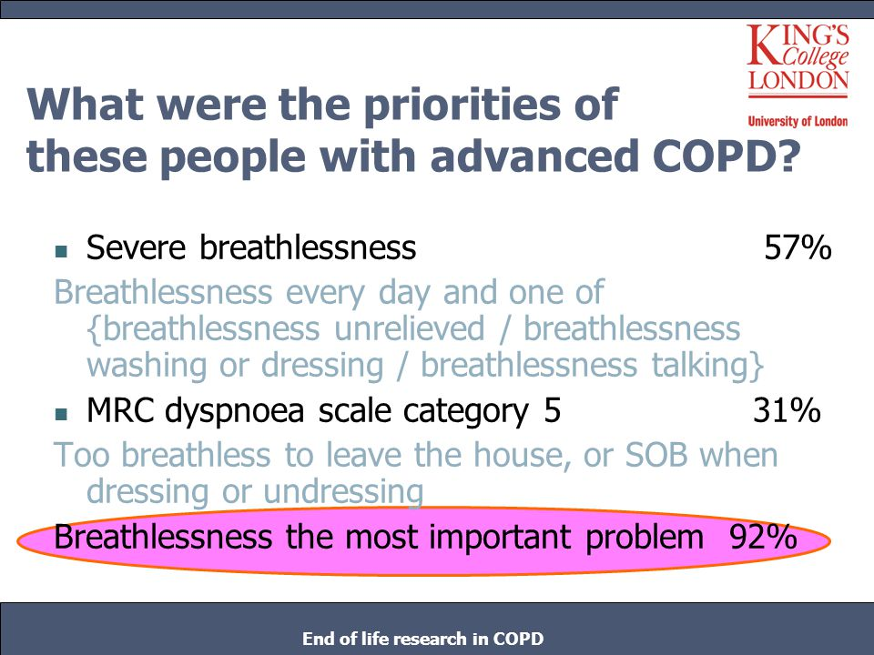 What were the priorities of these people with advanced COPD