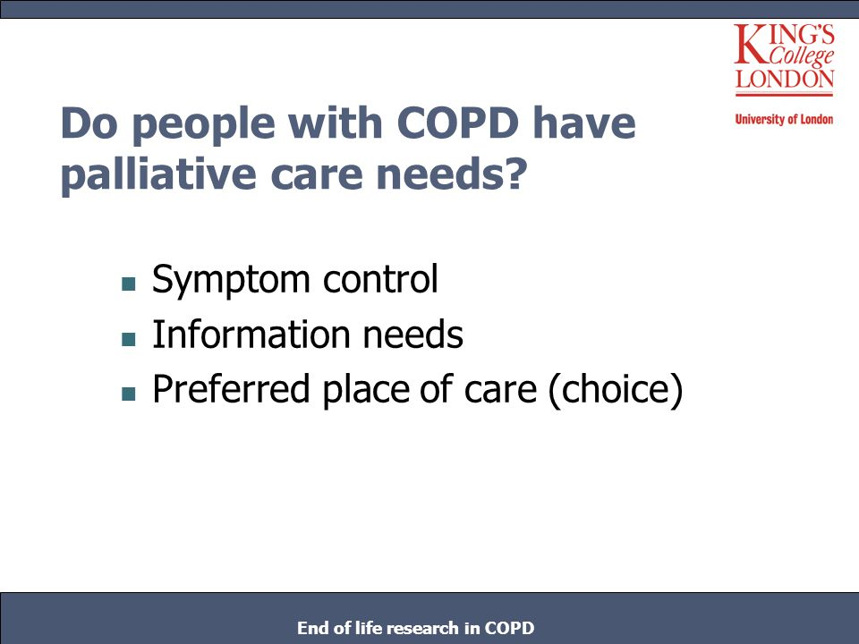 Do people with COPD have palliative care needs