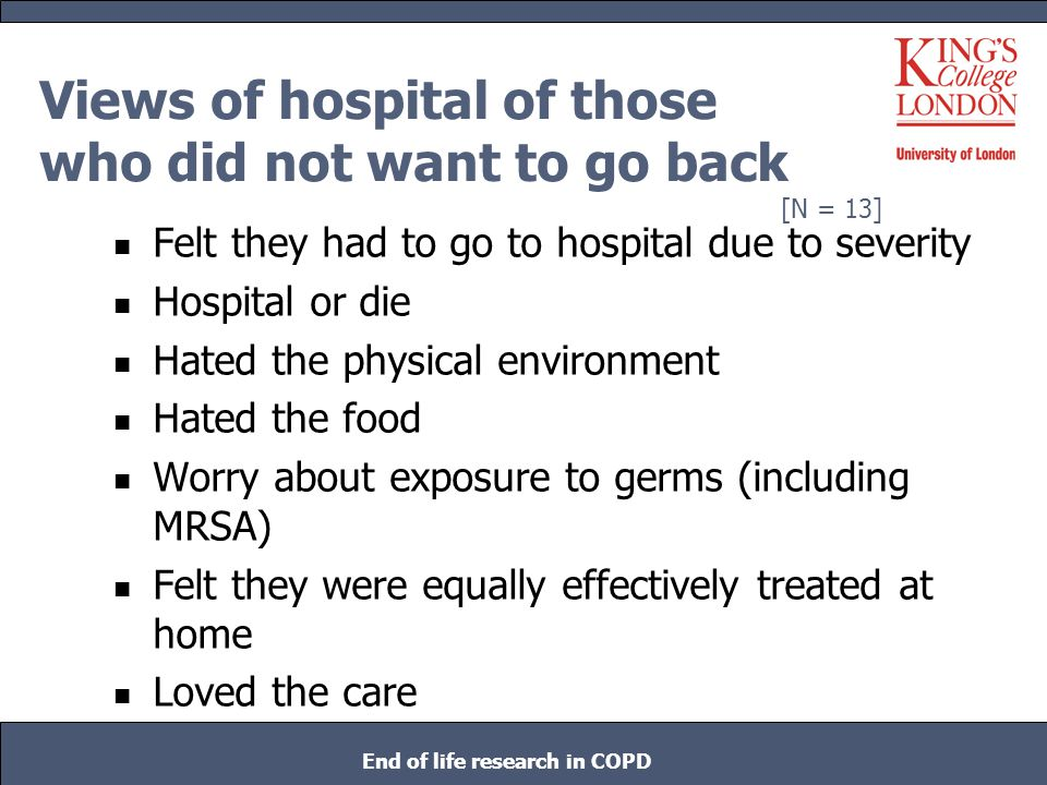 Views of hospital of those who did not want to go back