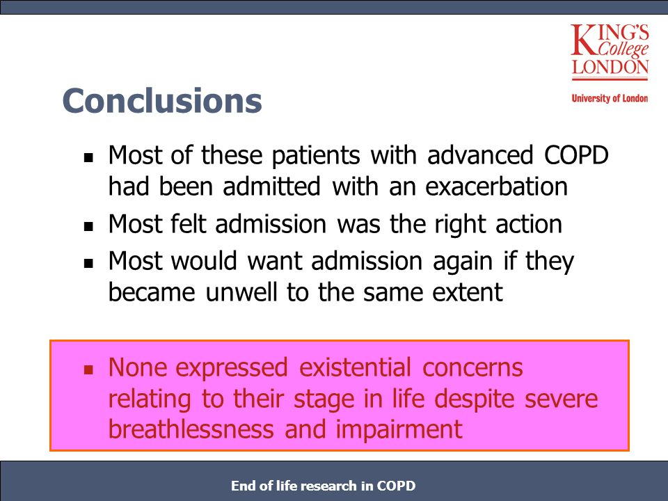 End of life research in COPD