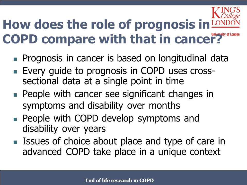 How does the role of prognosis in COPD compare with that in cancer