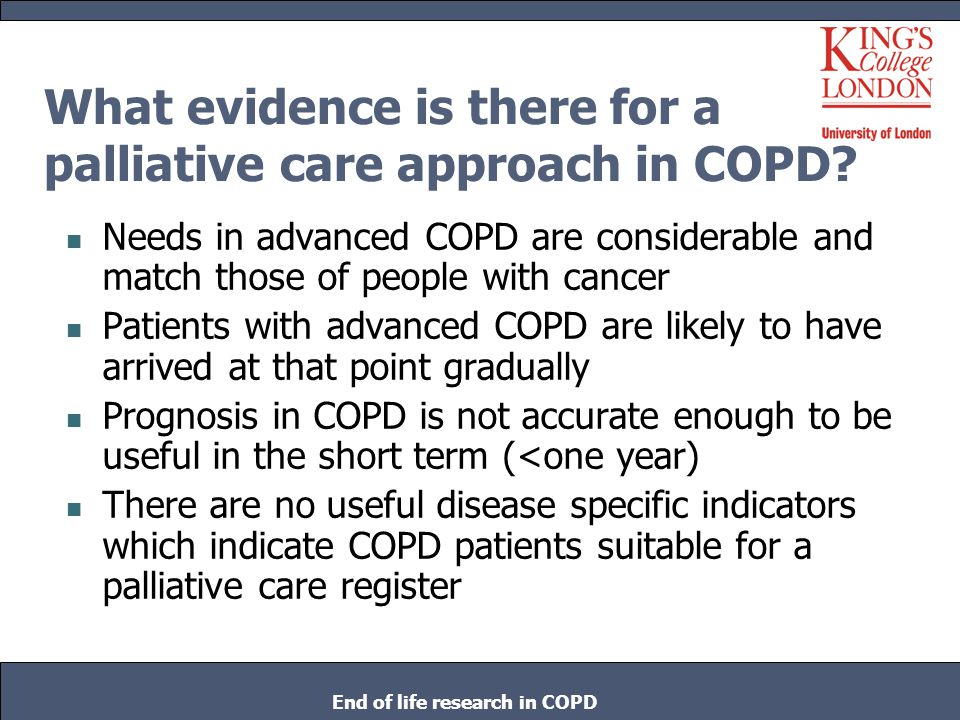 What evidence is there for a palliative care approach in COPD