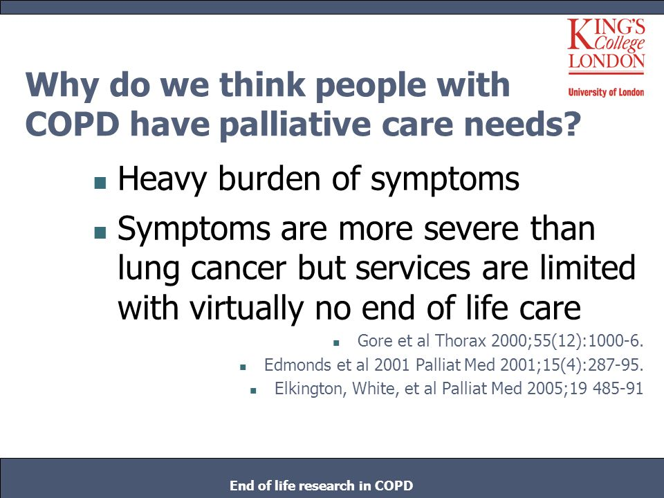 Why do we think people with COPD have palliative care needs