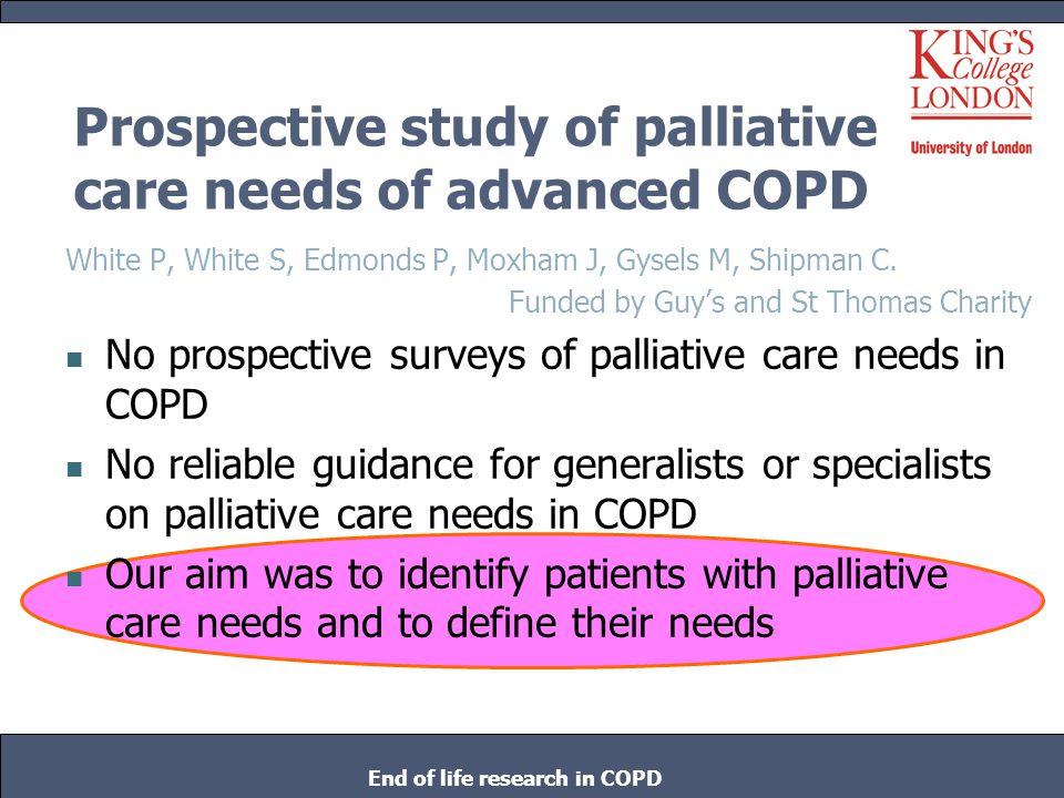 Prospective study of palliative care needs of advanced COPD