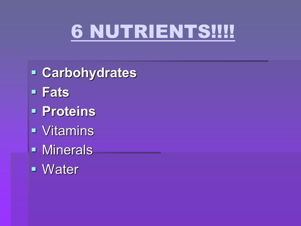 6 NUTRIENTS!!!! Carbohydrates Fats Proteins Vitamins Minerals Water