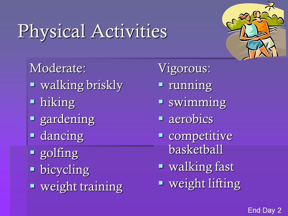 Physical Activities Moderate: walking briskly hiking gardening dancing