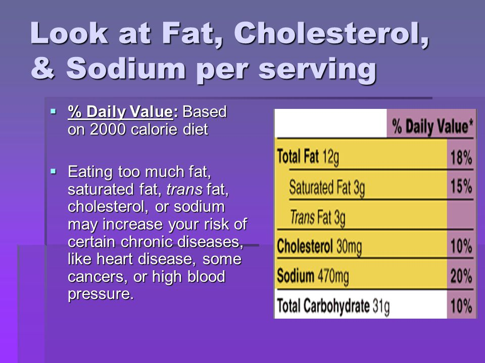Look at Fat, Cholesterol, & Sodium per serving