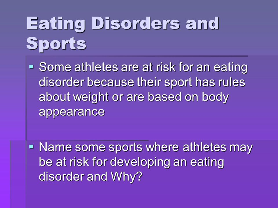Eating Disorders and Sports