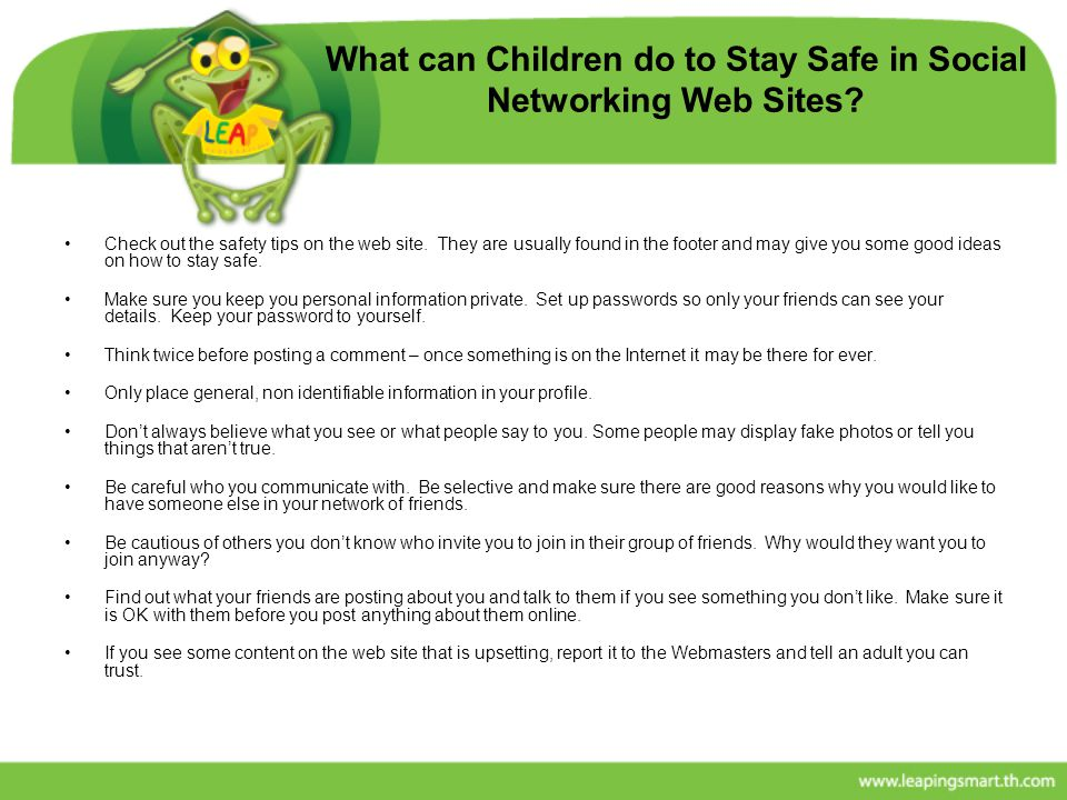 What can Children do to Stay Safe in Social Networking Web Sites