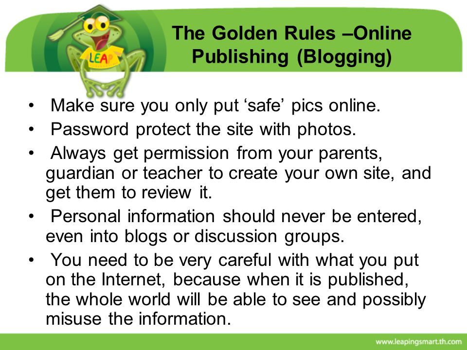 The Golden Rules –Online Publishing (Blogging)