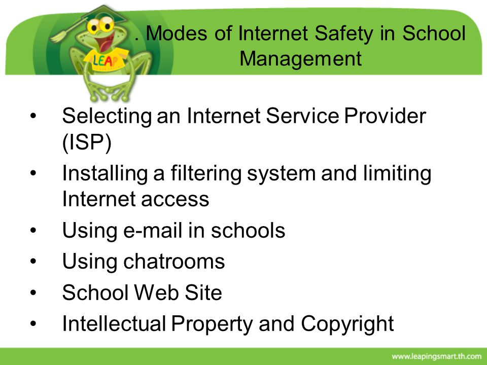 . Modes of Internet Safety in School Management