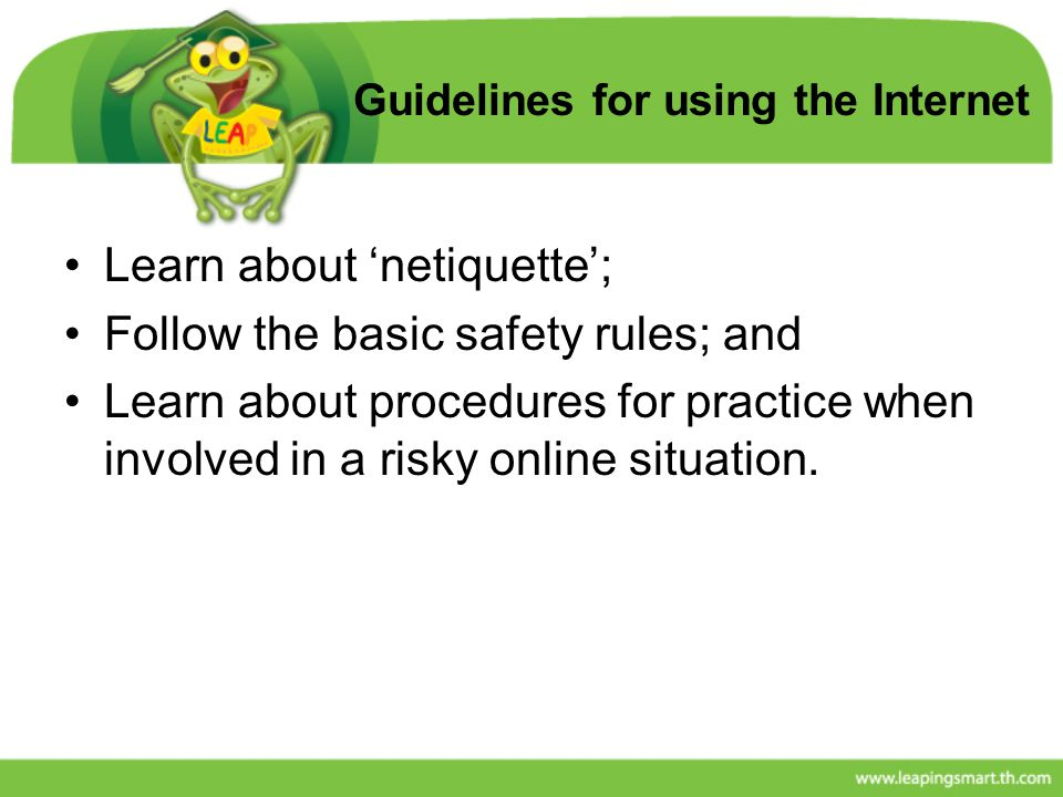 Guidelines for using the Internet