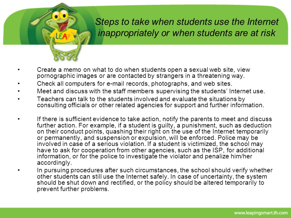 Steps to take when students use the Internet inappropriately or when students are at risk
