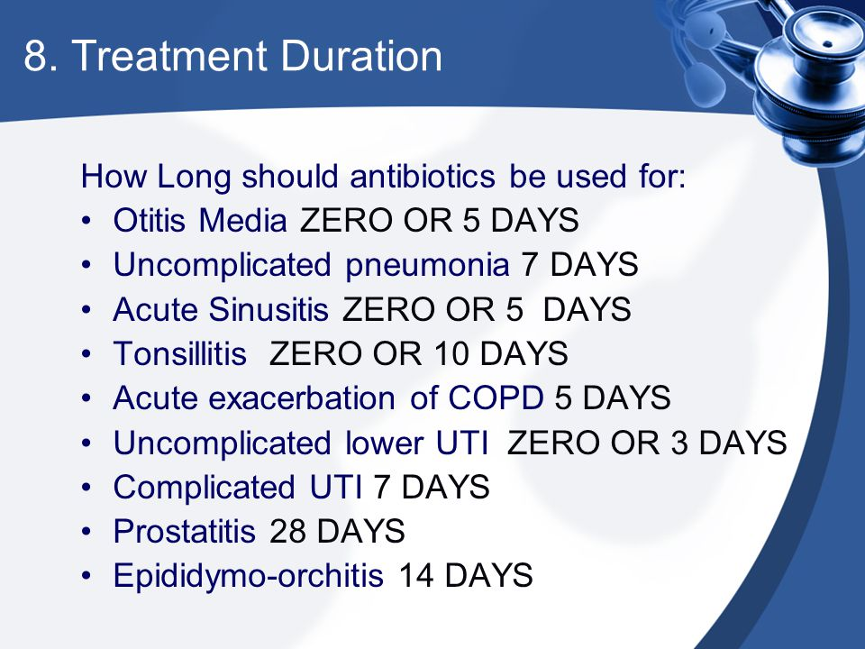 8. Treatment Duration How Long should antibiotics be used for: