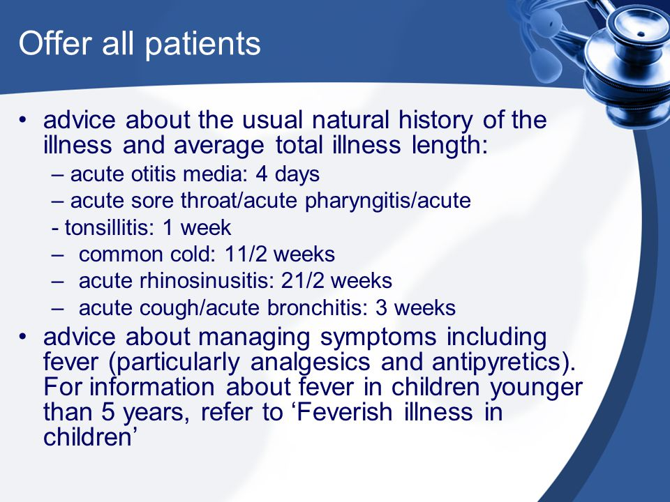 Offer all patients advice about the usual natural history of the illness and average total illness length: