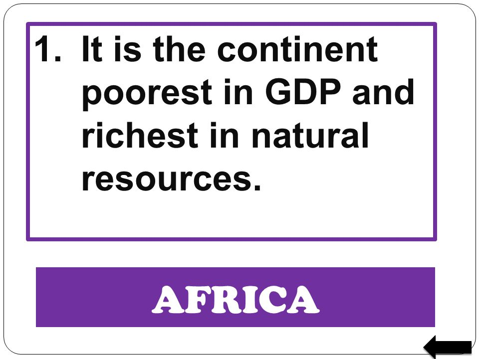 1. It is the continent poorest in GDP and richest in natural resources.