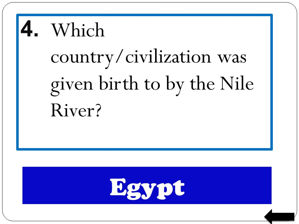 4. Which country/civilization was given birth to by the Nile River